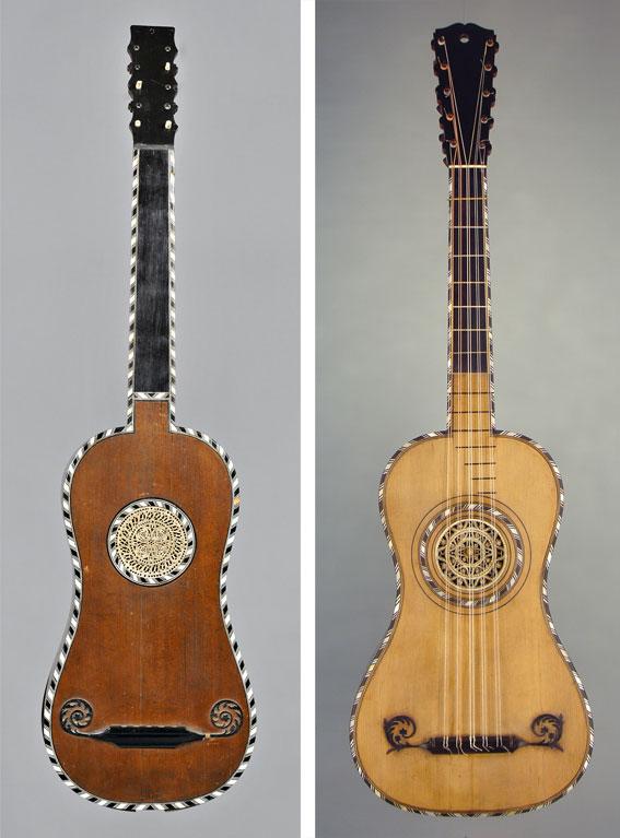 Gauche : guitare de Pierre Louvet, Paris 1760, © Jacques-Henri Bayle /// Droite : guitare de Lambert, Paris 1775, © D.R