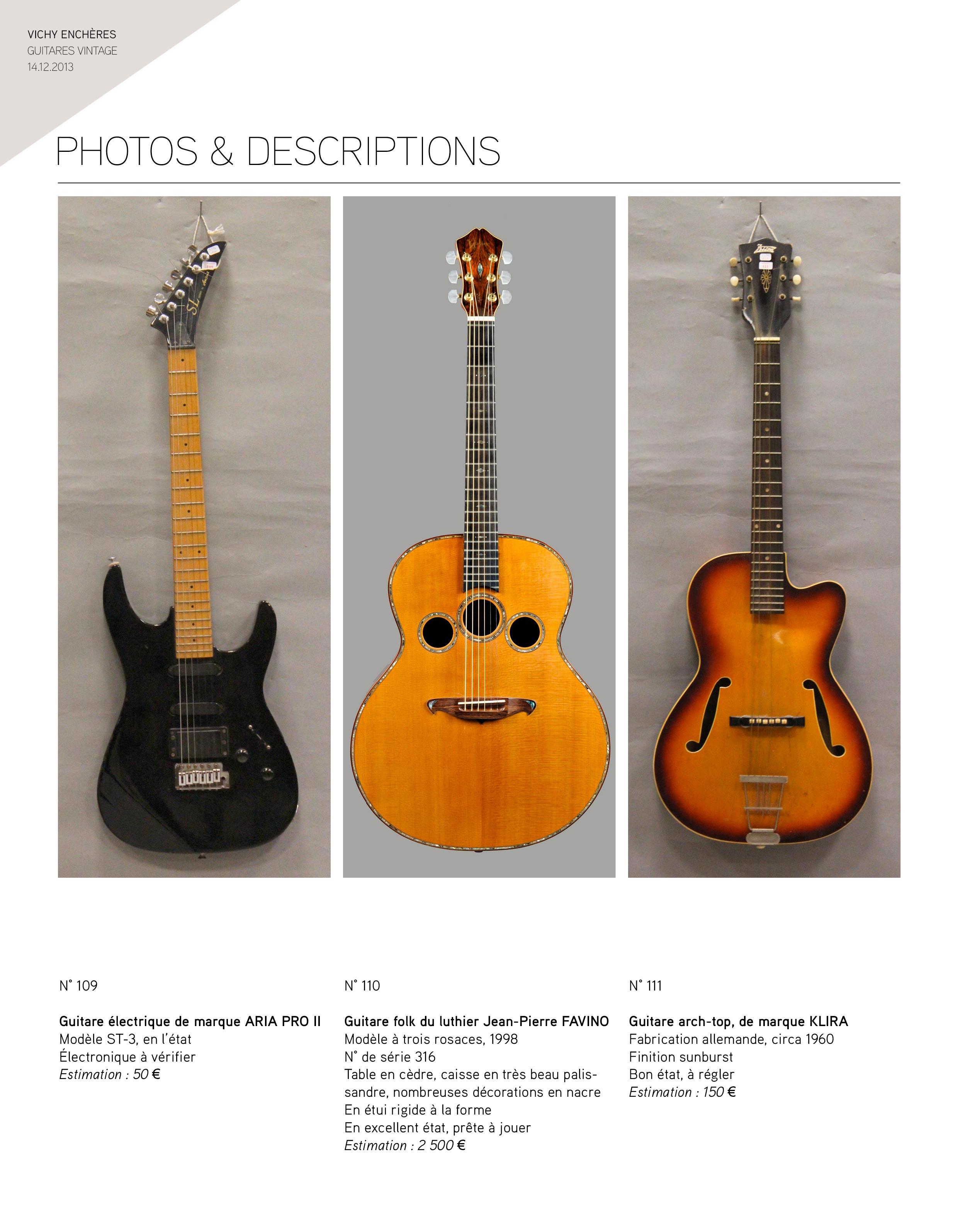 2013 - décembre - catalogue de guitares Vintage - p01