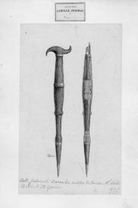 Dessin de la canne violon par E. GARNIER (1876) - Collection Achille JUBINAL