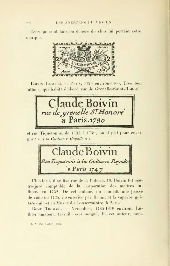 Laurent Grillet, ouvrage Les ancêtres du violon et du violoncelle, 1901