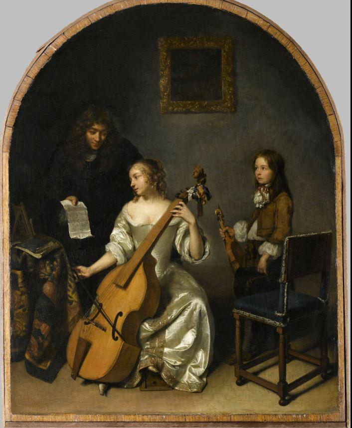 Joueuse de basse de viole (1664 - 1665) de Caspar Netscher
