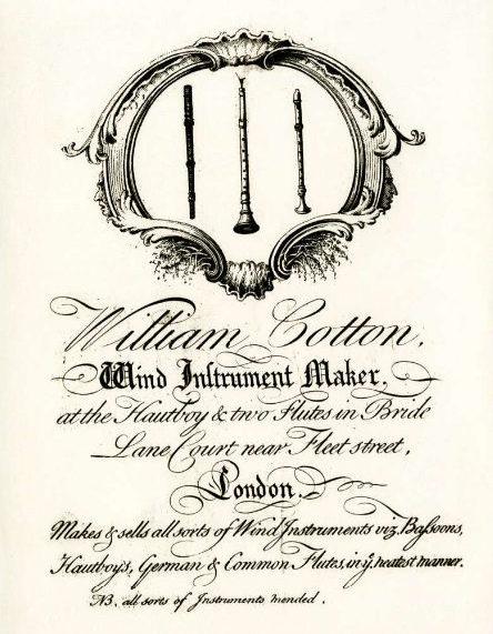 Carte de marchand de William Cotton