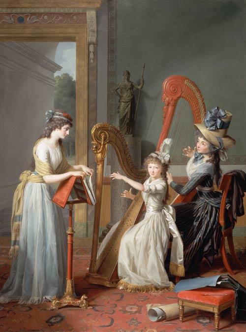 "Jean-Antoine-Théodore Giroust (1753-1817) ""La leçon de harpe"", 1791"