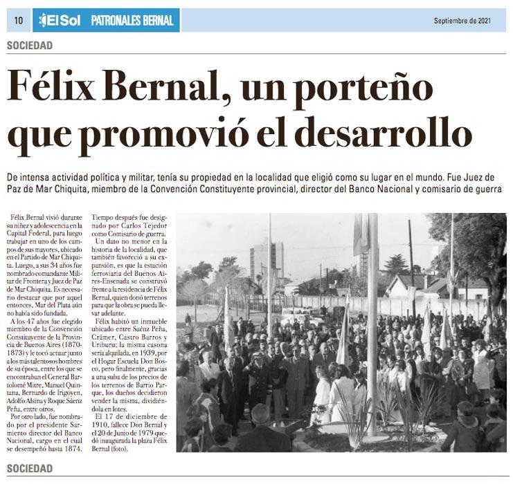 """""""Félix Bernal, un porteno que promovio el desarrollo"""""""