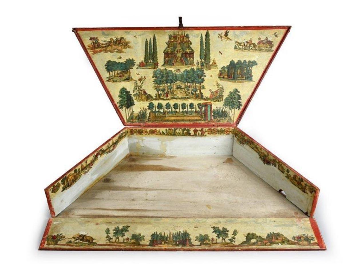 Rare coffret pour Tympanon ou Dulcimer en bois laqué à décor en Arte Povera