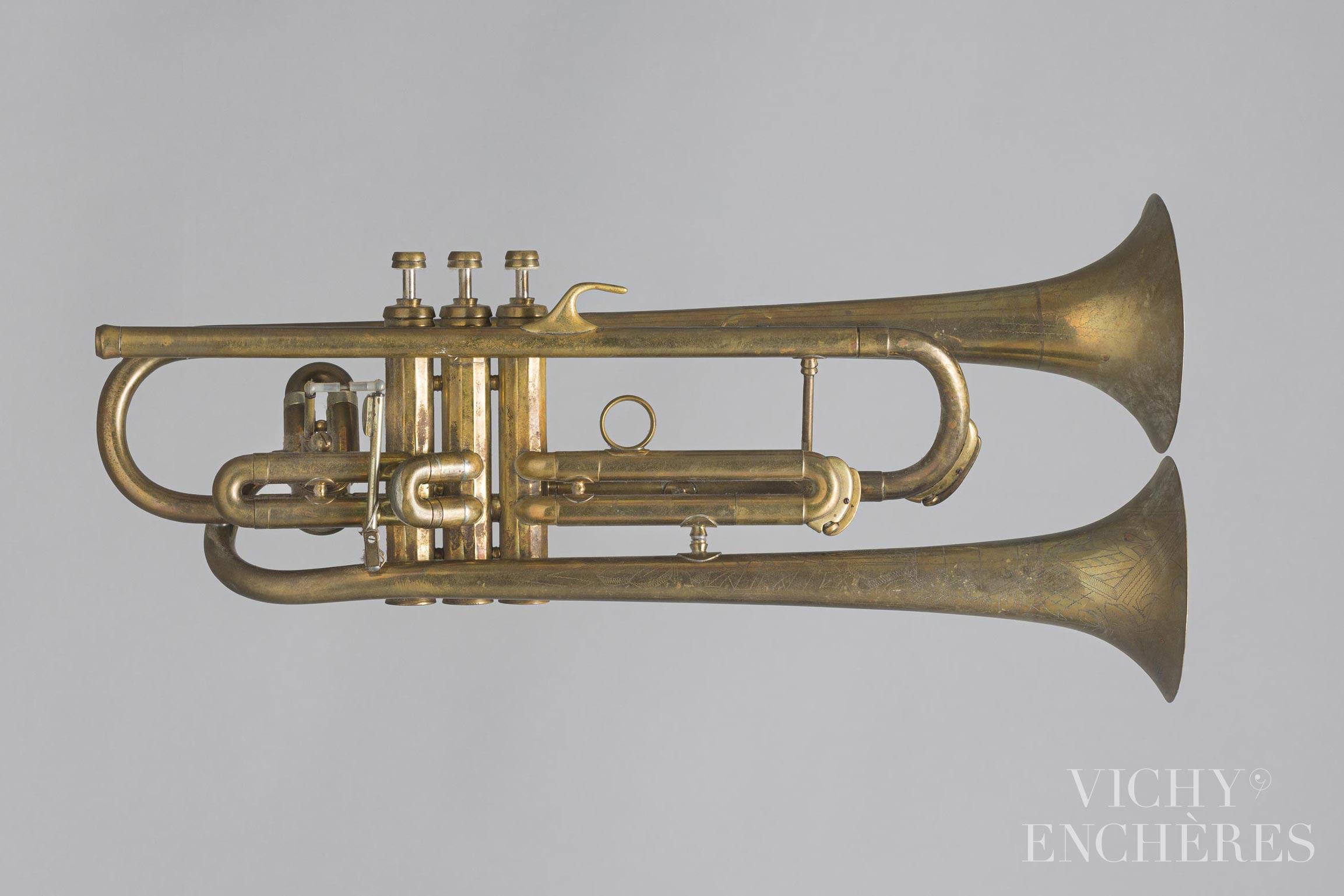 Trompette duplex en si bémol estampillée CONN Elkhart - Collection Patrick Delile