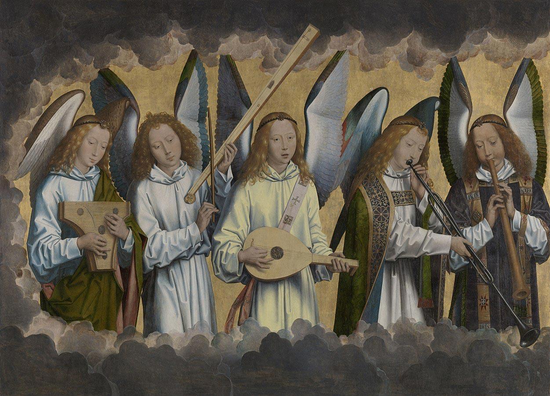 """Anges musiciens"" de Hans Memling, 1483-1494,"